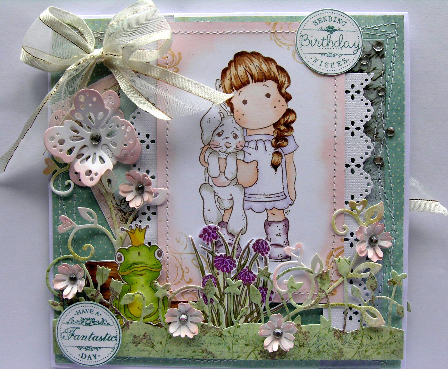 Elegantly Crafted Magnolia Tilda With Hangging Bunny Birthday Card