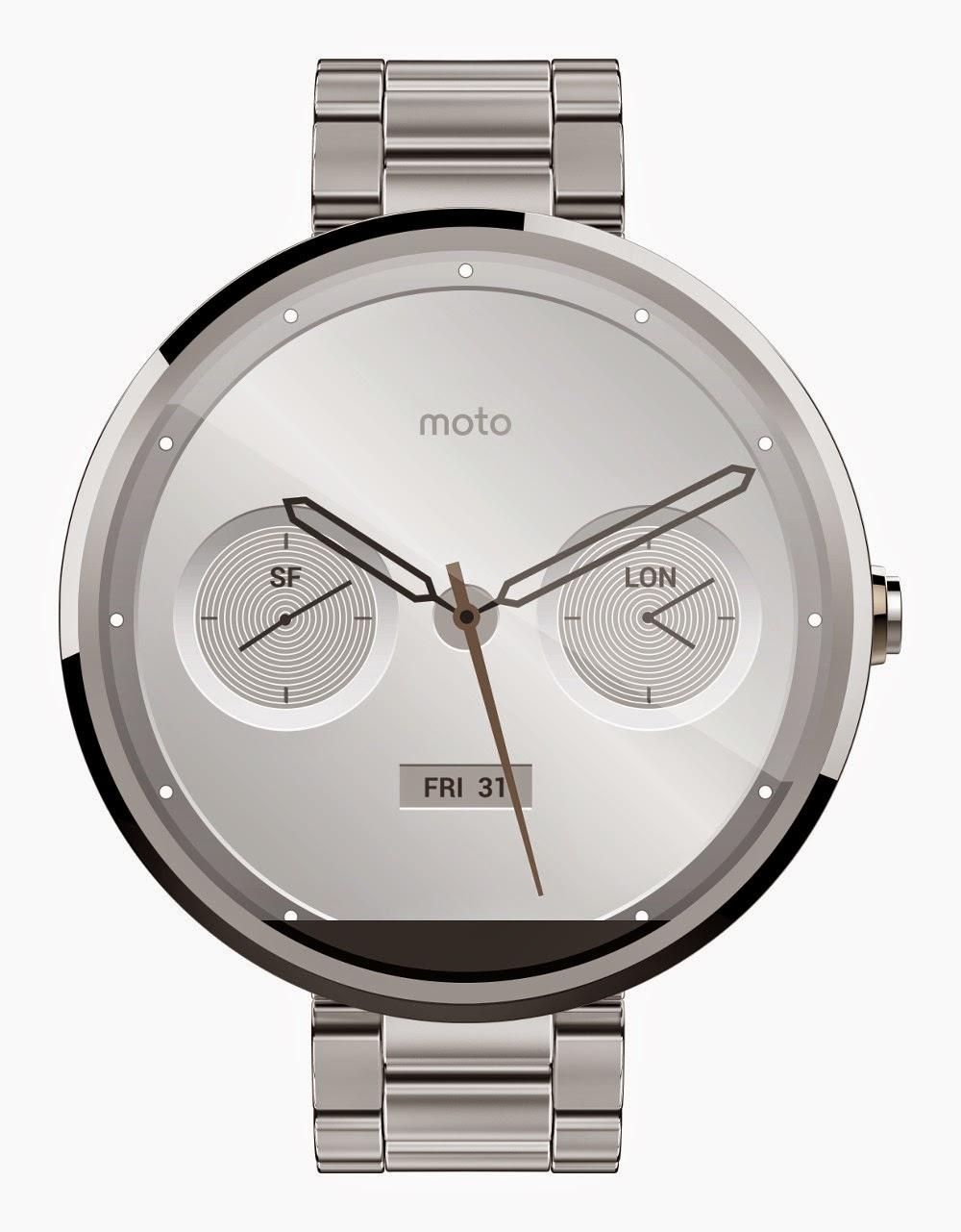 Motorola Moto 360 Metal - light metal slim front view