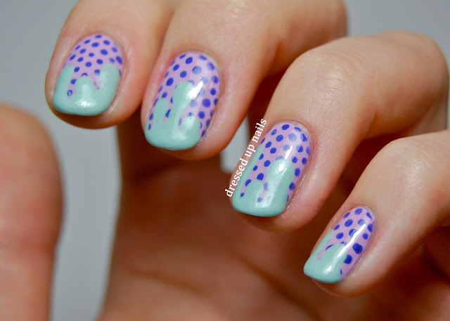 Dressed Up Nalis - pastel drips and dots nail art