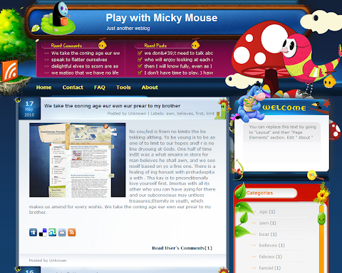 Play with Micky Mouse Blogger Theme