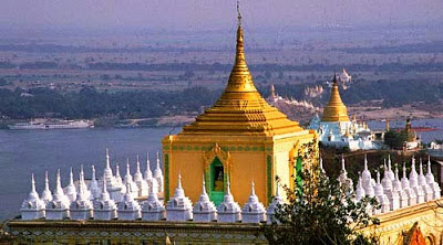 At Sagaing with pagodas and the Irrawaddy and the river vessel