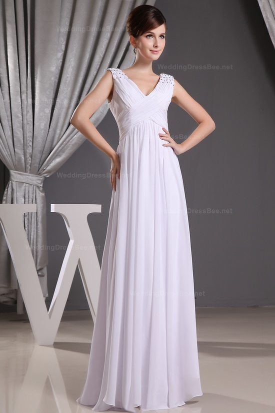 V-neck Crossed Ruffles Chiffon Dress