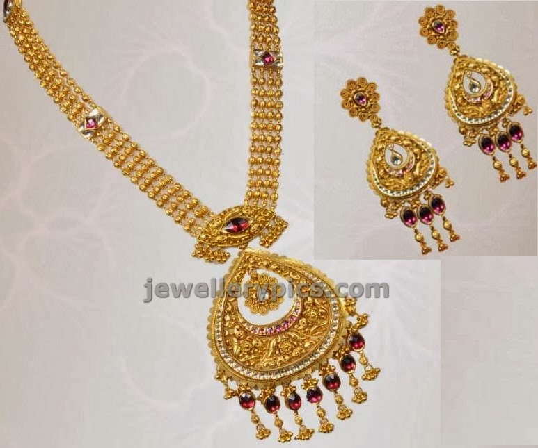 manepalli jewellers gulla haram with chandbali locket and earrings
