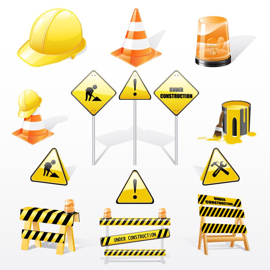 工事現場のクリップアート vector construction traffic icon イラスト素材