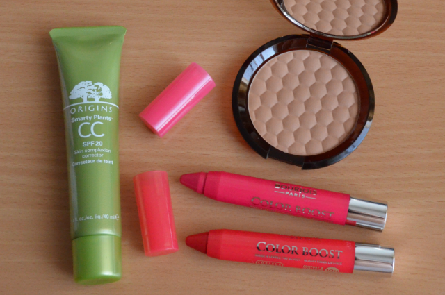Origins smarty plants CC cream, The body shop bronzing powder, Bourjois color boost lip crayons