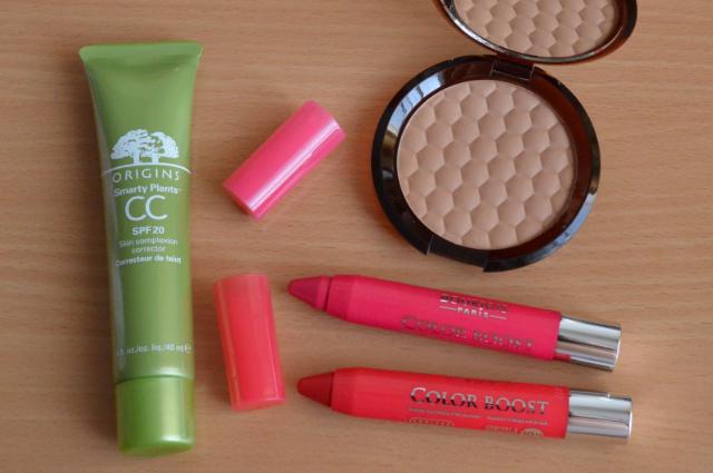 Origins smarty plants CC cream, The body shop bronzing powder, Bourjois color boost lip crayons
