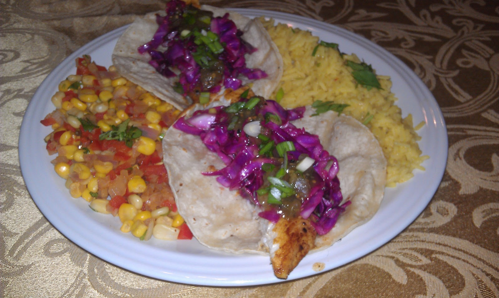 Sarah 39 s life in food chili lime fish tacos with red for Fish taco red cabbage slaw
