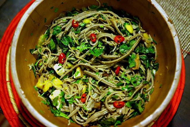 Soba noodle salad with eggplant, mango & tofu