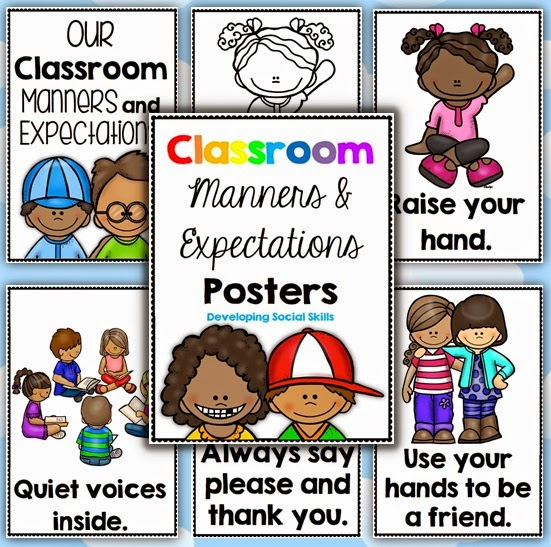 Classroom Manners and Expectations Posters in both color and black and white