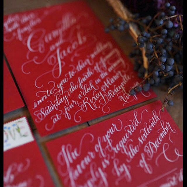 red white wedding invitation calligraphy