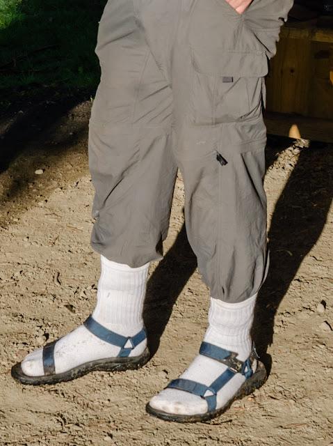 white socks worn with teva sandals