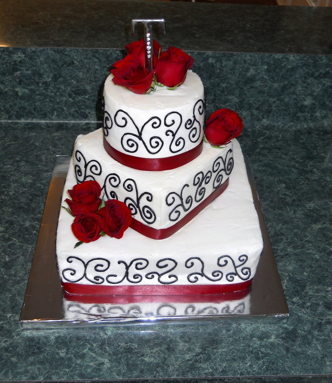 The Happy Caker White Black and Red Wedding Cake