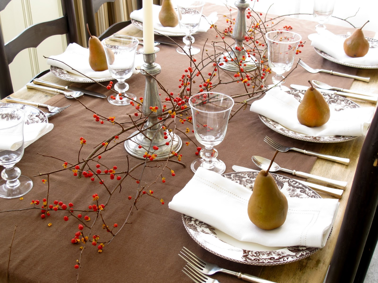 Jenny Steffens Hobick Thanksgiving Table  Pears Bittersweet Velvet u0026 Linen & Jenny Steffens Hobick: Thanksgiving Table : Pears Bittersweet ...