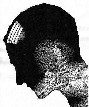więzienie, głowa, kraty, człowiek, umysł
