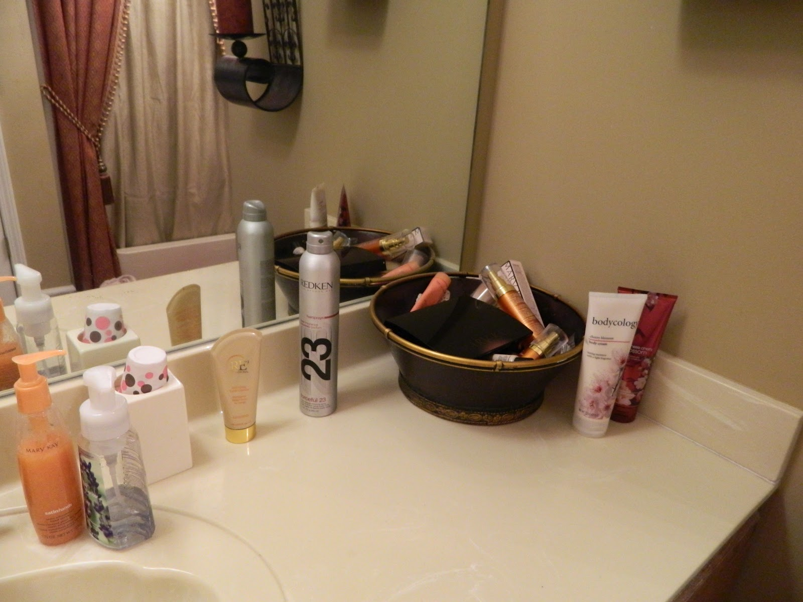 the bathroom counter  I found my inspiration for my reorganization at  Blissfully Domestic  where The Nester had used several of her large  collection of. Sugar Spice and Spilled Milk  Mission Organization  Week 14   My