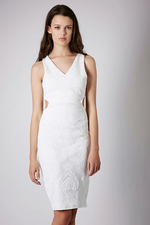 white cutout midi dress