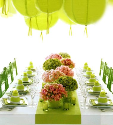 DECORATE GREEN AND PINK AND YELLOW FOR A WEDDING Green White Wedding  Centerpieces