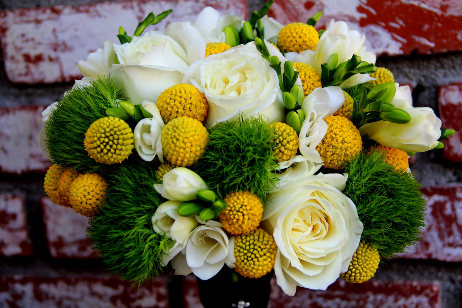 Sea Of Blossoms Yellow Green And White Wedding Bouquet