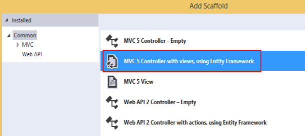 Scaffolding With ASP.net MVC 5
