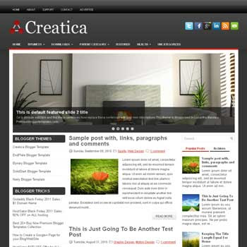 Creatica blog template. download 3 column blogger template style. magazine template blogspot.