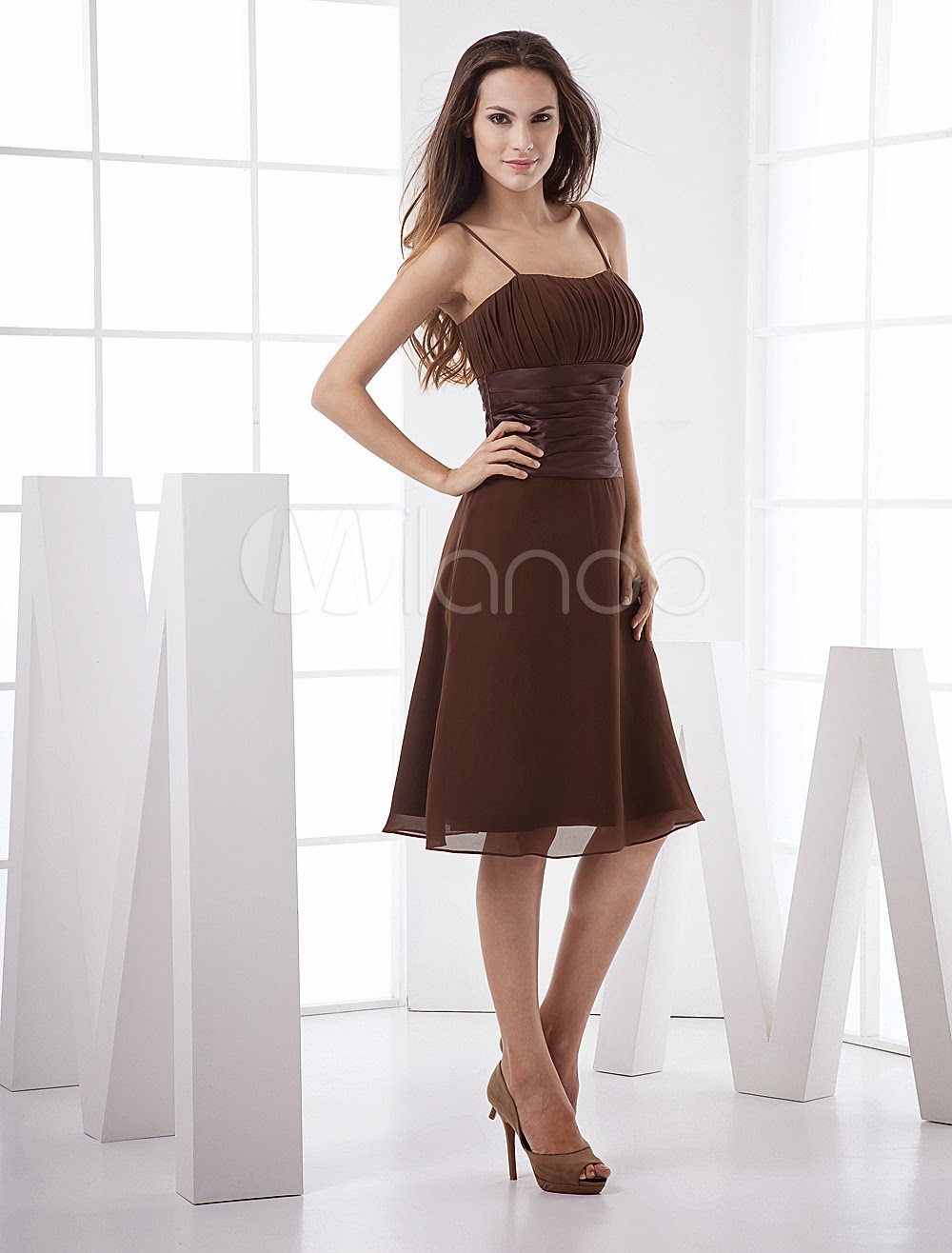 China Wholesale Dresses - Classic Spaghetti Pleated Wrapped Knee Length Chiffon Summer Prom Dress