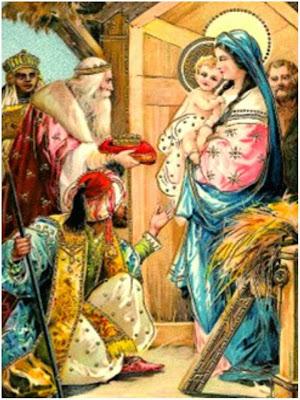En la imagen los Tres Reyes Magos adorando al Niño Jesus