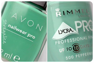 Avon Peppermint Leaf and Rimmel Peppermint - detail comparison