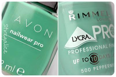 Avon Peppermint Leaf and Rimmel Peppermint - detail comparison