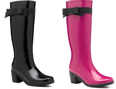 Kate Spade Shoes - Gummy boots - boots for rainy weather - pink - black - heel - bow