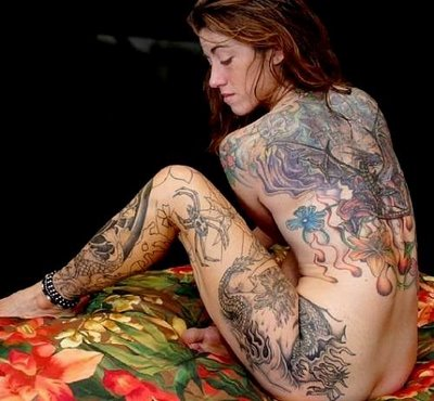 Girl full tattoo body art design