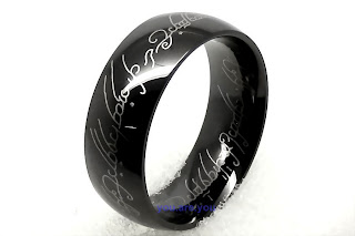 NEW Lord of the Ring Black Stainless 316L Steel Men Band Ring Size 7-12 Gift Box