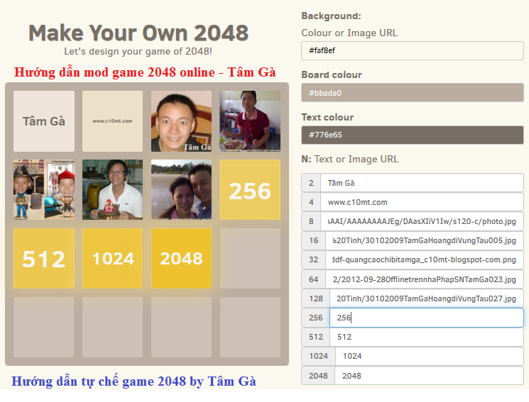 make your own 2048 game