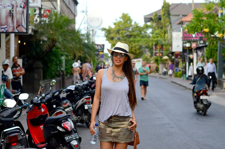 Seminyak, Bali, Indonesia, Gucci Soho Disco bag, Coin necklace, Panama hat, Rayban Club Master, Camo skirt