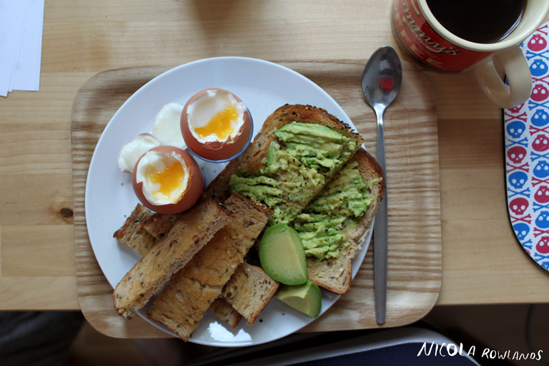 Boiled eggs and avocado