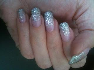 CND Shellac in Beau plus silver craft glitter