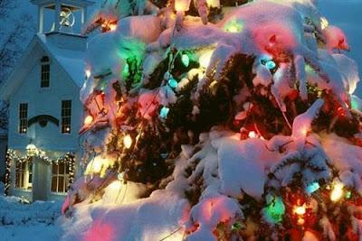 Luces de navidad llenas de nieve