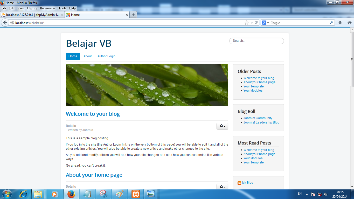 Preview Install Sample Data : Blog English Pada Joomla 3.X