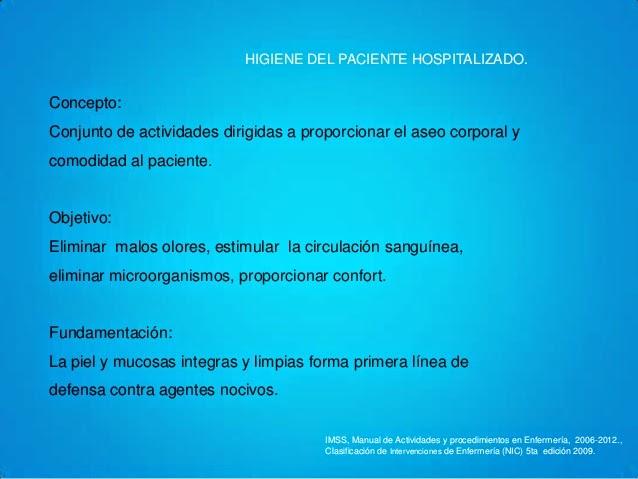 Baño General Del Paciente Encamado:higiene del paciente hospitalizado