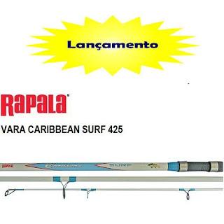 Foto de uma vara de pesca da marca rapala de 4,25 (quatro metros e vinte e cinco centimetros) de altura, com azul e branco
