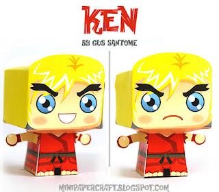 Mini Ken Papercraft - Street Fighter