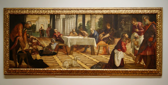 Politics Section from Art as Therapy Exhibit at Art Gallery of Ontario in Toronto, artmatters, culture, paintings, history, Alain de Botton, John Armstrong, history, ontario, Canada, The Purple Scarf, Melanie.Ps, Christ Washing His Disciples' Feet, Jacopo Tintioretto, 1545-1555