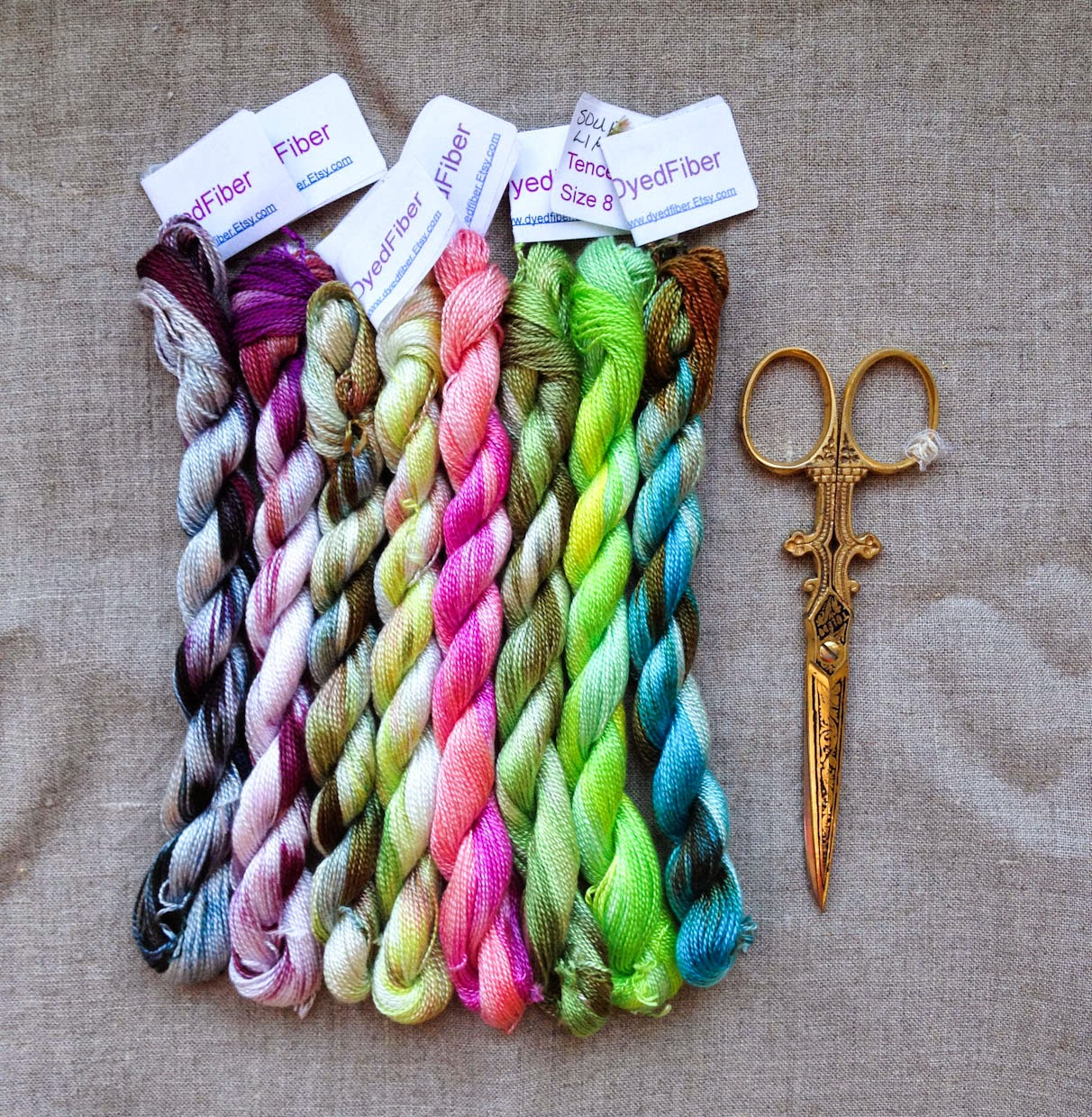 Drop cloth dyed fiber embroidery thread and bubblegum