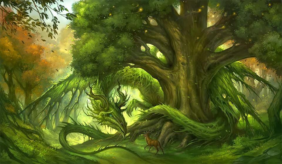 dragon de bosque  Dragon+verde+y+ciervo