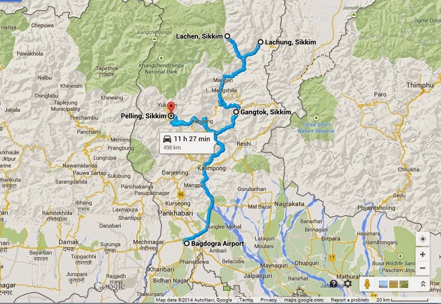 Google Map of Sikkim Trip