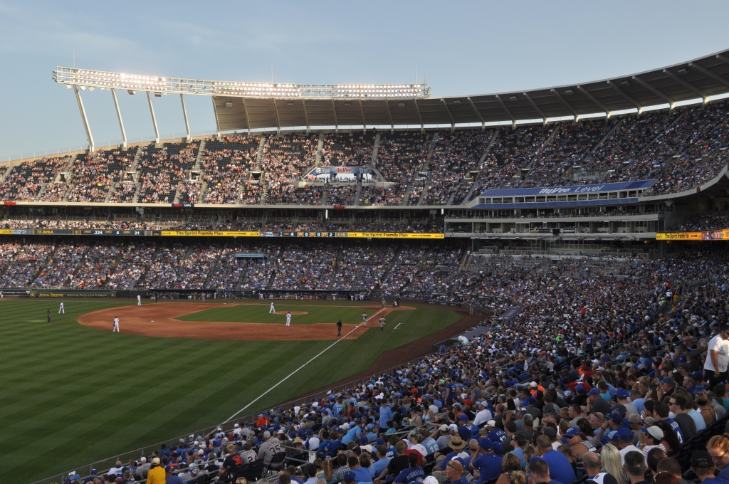 Kauffman Stadium in Kansas City, Missouri via www.VisitFlyoverCountry.com