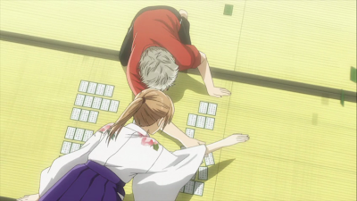 A screencap of a Karuta match in progress.