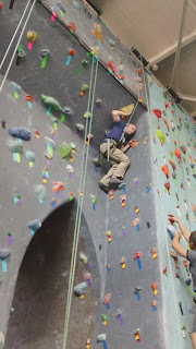 "climbing the ""Brooklyn Bridge"" route at Brooklyn Boulders indoor climbing gym"