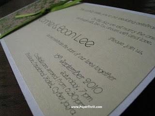 Green pink damask handmade wedding card