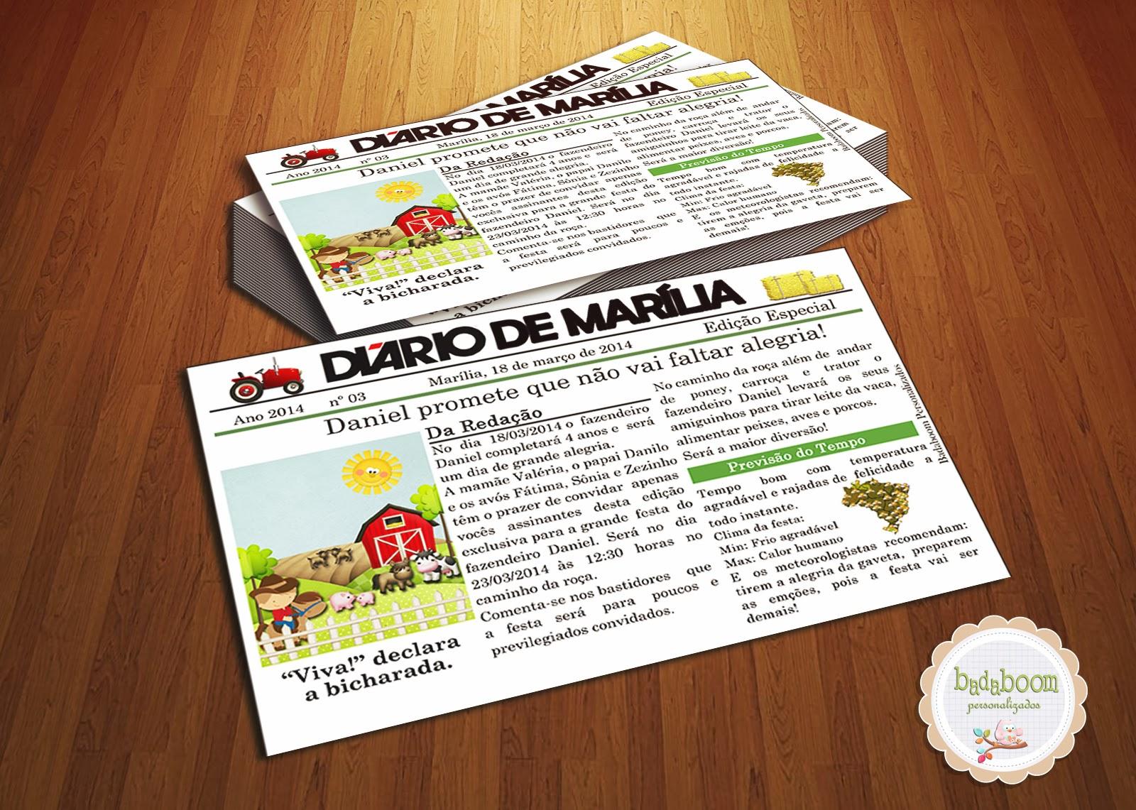 Convite, Jornal, Fazenda