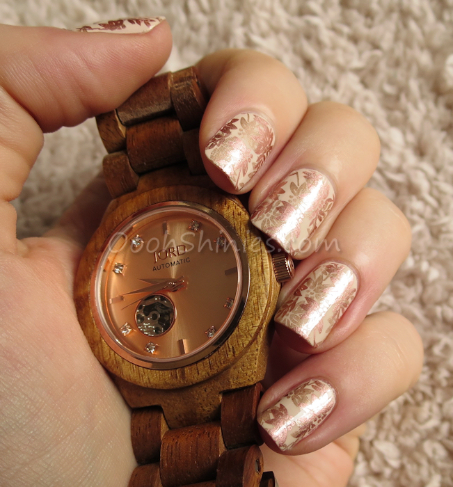 JORD Wood Watch Cora Koa Rose Gold with  Essence 02 stamped with Perfect Touch #04, China Glaze Poetic and PUEEN plate 15, and Dance Legend Top Satin